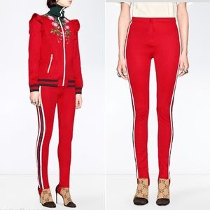 Gucci Sylvie Web Technical Jersey Stirrups Legging